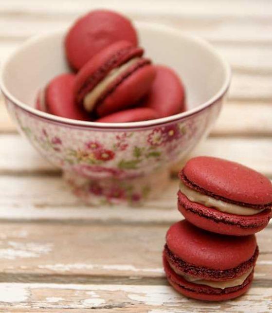Macarons chocolat blanc cassis
